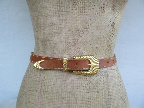 90s Simple Brown Leather Ranger Belt, 1990s Simple Cognac Brown Leather Belt, 80s 1980s Leather Ranger Belt, Trouser Belt, L 29 To 32.75 by Etsy