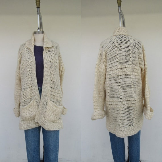 70s 80s Handknit Cream Cardigan Sweater | Granny G