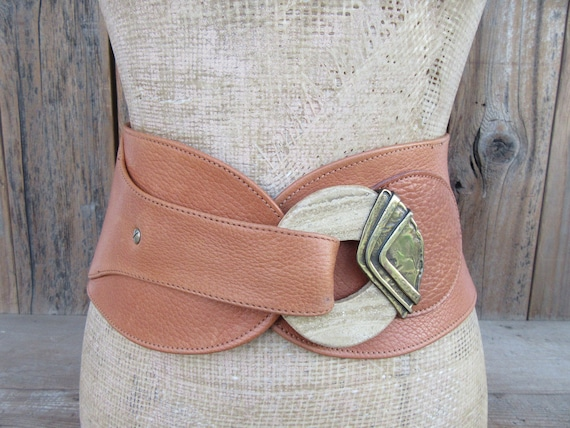 80s Extra Wide Leather Waist Belt |  Pebbled Camel