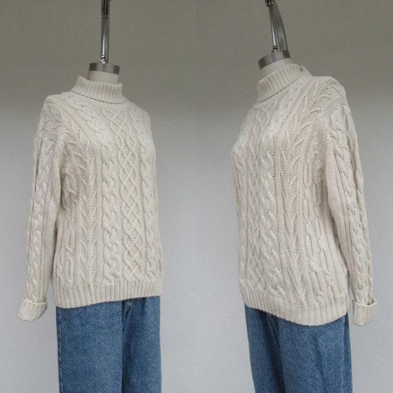 80s Vanilla Cream Oversized All Cotton Knit Cablek