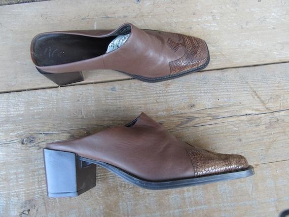 90s Brown Leather Block Heel Square Toe Half Boot… - image 6