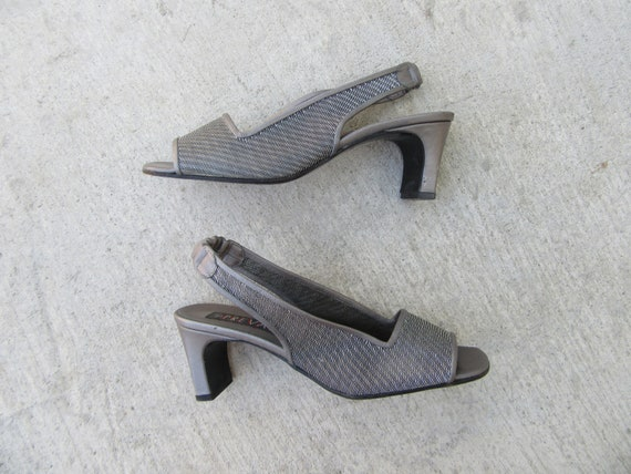 90s Metallic Square heel Open Toe Slingback Sandal