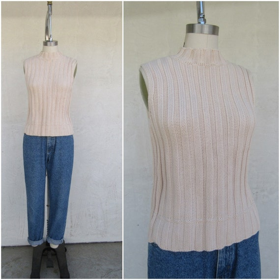 90s Vanilla Cream Cableknit Moch Neck Sleeveless … - image 3