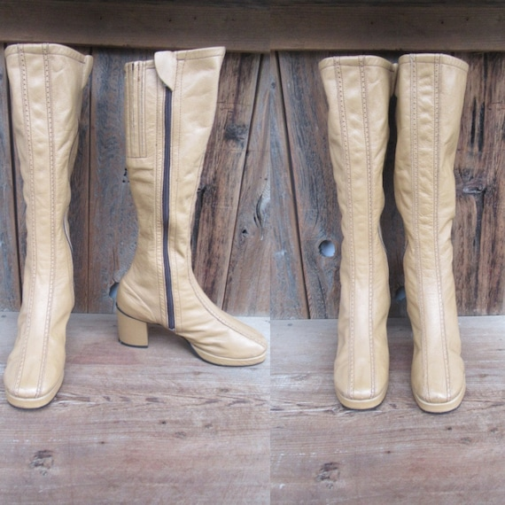 60s 70s Camel Brown Leather Go Go Boots   Knee Hig