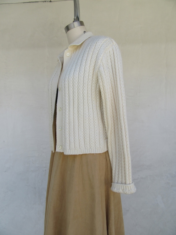 80s 90s Vanilla Cream Wool Blend Cropped Cardigan… - image 3