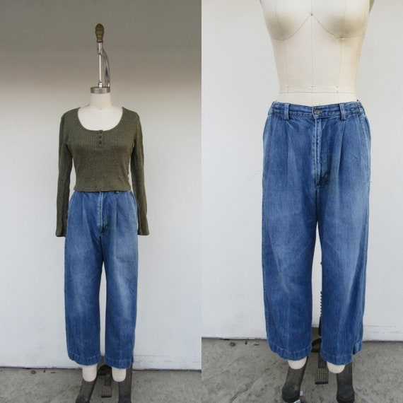 90s High Waist Pleated Cropped Denim Jeans | MOm P