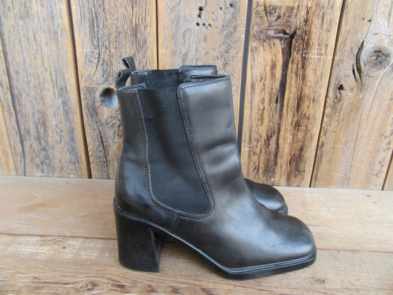 Vintage 90s Black Leather Boots, 90s Chunky Boots,