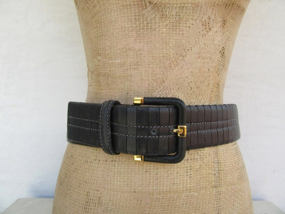 80s 90s Minimalist Navy Blue Leather Wide Waist Belt | Saks Fifth Avenue Covered Buckle Belt | New Old Stock | M 29 To 31.5 by Etsy