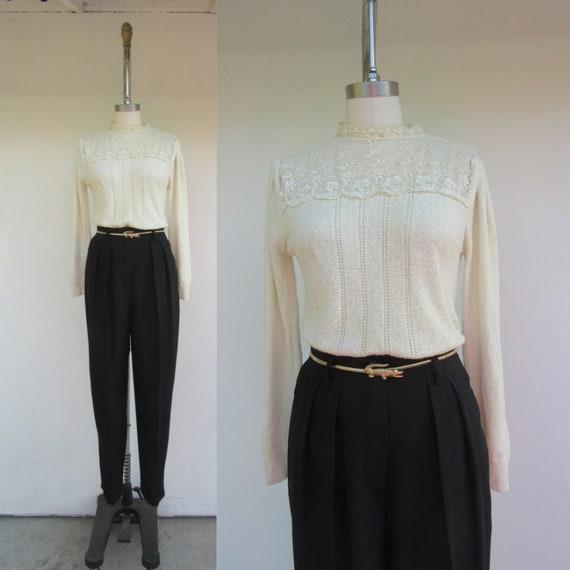 80s Pleated Sleeve Lace Yoke Sweater   Minimal Pop