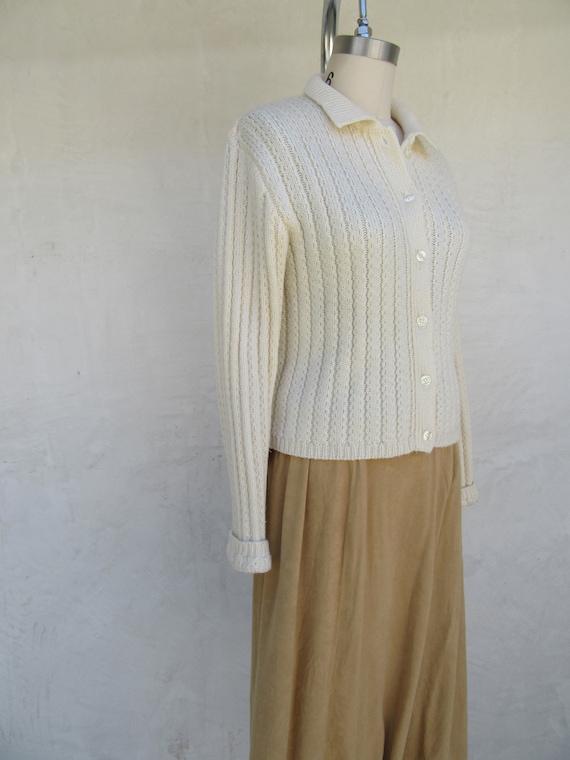 80s 90s Vanilla Cream Wool Blend Cropped Cardigan… - image 4