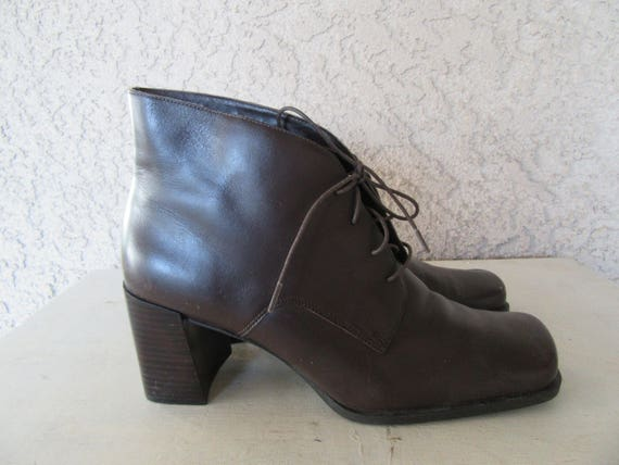 Boots Brown 90s Chunky Ankle Laceup Square Heel Boots Size Dark 1990s Leather Euro 9 Granny 40 Heel Boots A77rwqI