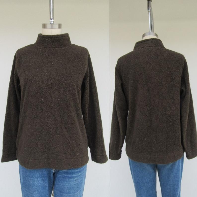 Minimal Brown Speck Mockneck M Teddy Sweater Jumper 90s Teddy LL Bean Mockneck Fleece Long Sleeve Top