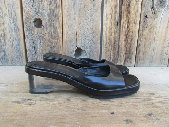 90s Black Leather Lucite Heel Wedge Heel Open Toe… - image 1