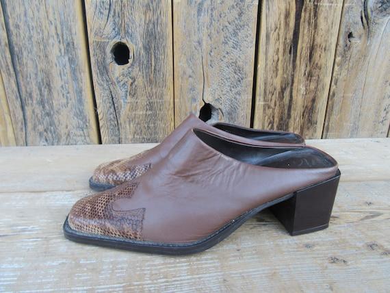 90s Brown Leather Block Heel Square Toe Half Boot… - image 1