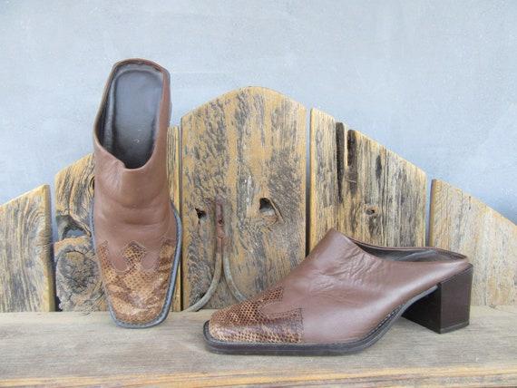 90s Brown Leather Block Heel Square Toe Half Boot… - image 7