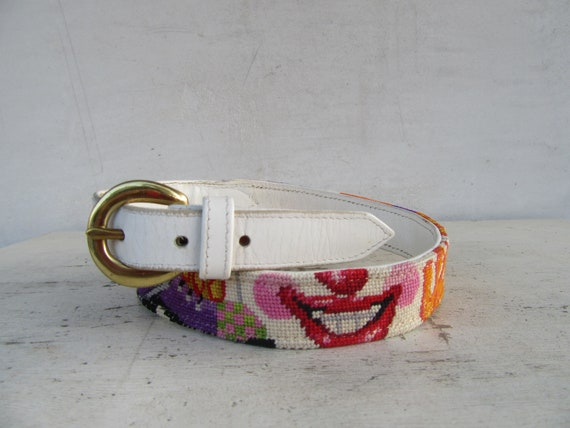White Leather Embroidered Clown Face Belt | Clown… - image 2