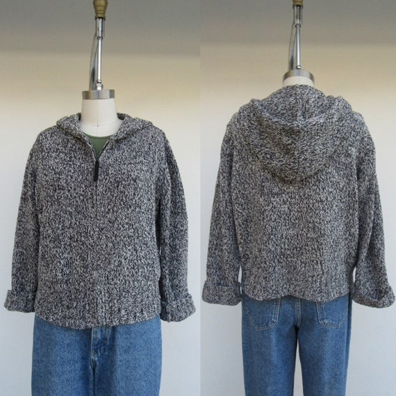 90s Marled Gray Chenille Hooded Sweater | Chenille