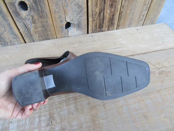 90s Brown Leather Block Heel Square Toe Half Boot… - image 8