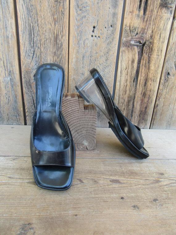 90s Black Leather Lucite Heel Wedge Heel Open Toe… - image 3