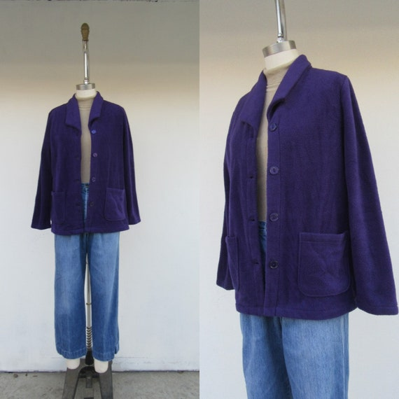 90s Dark Purple Fleece Teddy Jacket | Fleece Chore