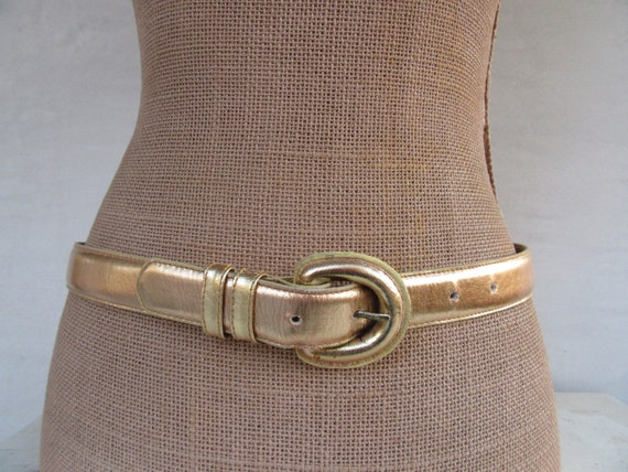 1990s Gold Leather Trouser Belt, Simple Minimalist 1990s Gold Leather Belt, Covered Buckle  Belt, 90s M Inimalist Belt, Size L 29.5 To 33.5 by Etsy