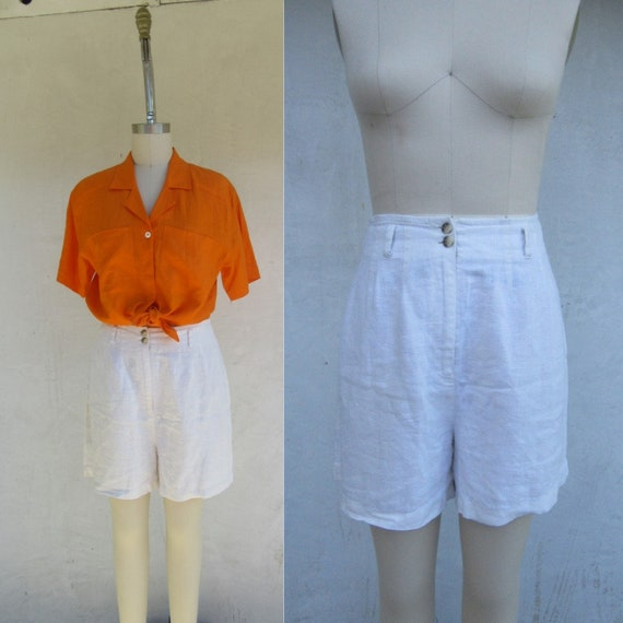 90s Vanilla Cream High Waist Linen Longline Shorts