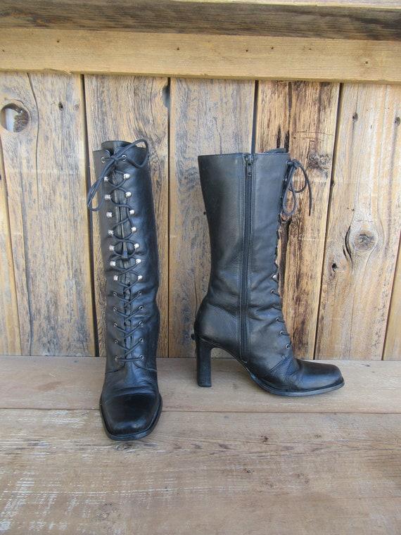 90s Black Leather Square Heel Knee HIgh Granny Boo