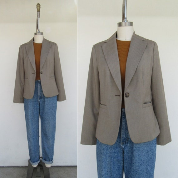 Micro Mini Skirt Ladie/'s Suit Dress Fuzzy Felt Wool Chunky Cropped 1990s 90s Jacket XS Vintage Moschino Italy Cheap /& Chic Business Blazer