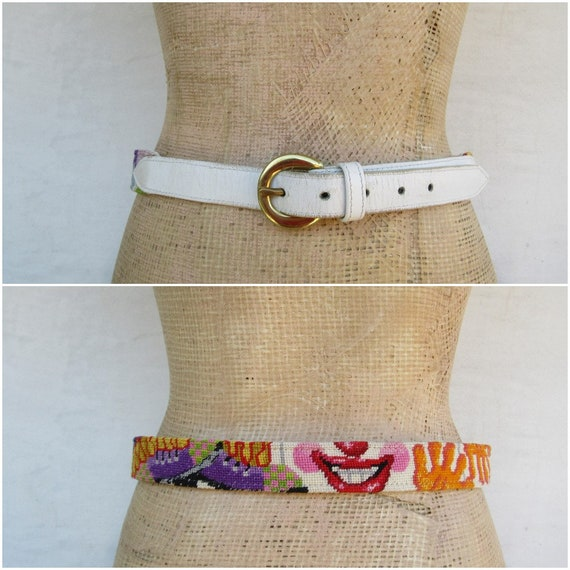 White Leather Embroidered Clown Face Belt | Clown… - image 1