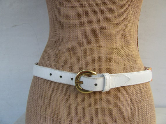 White Leather Embroidered Clown Face Belt | Clown… - image 6