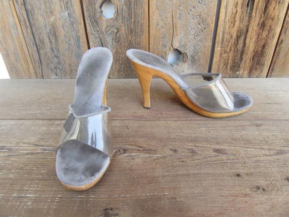 70s Wood Heel Transparent Jelly Slides Sandals Pla