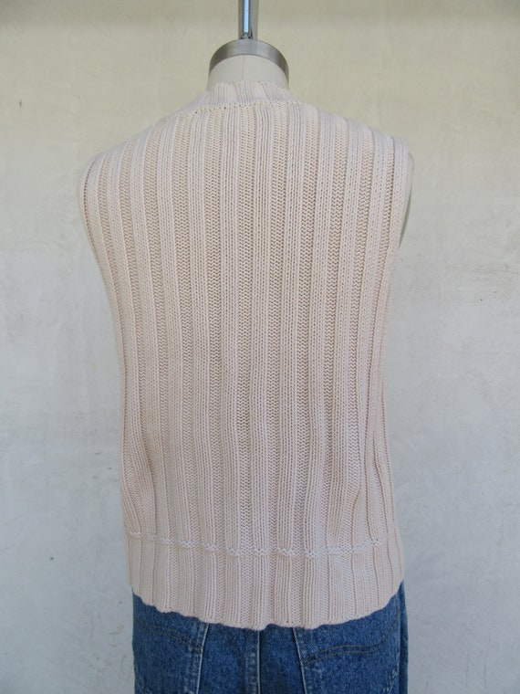 90s Vanilla Cream Cableknit Moch Neck Sleeveless … - image 7