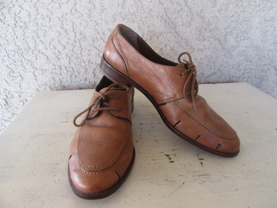 Made Cutout 8 Oxfords Brazil 1980s Leather Leather Shoes Woven Oxfords Leather 90s Shoes 1990s Size in Woven Sandals ZTcqd6n