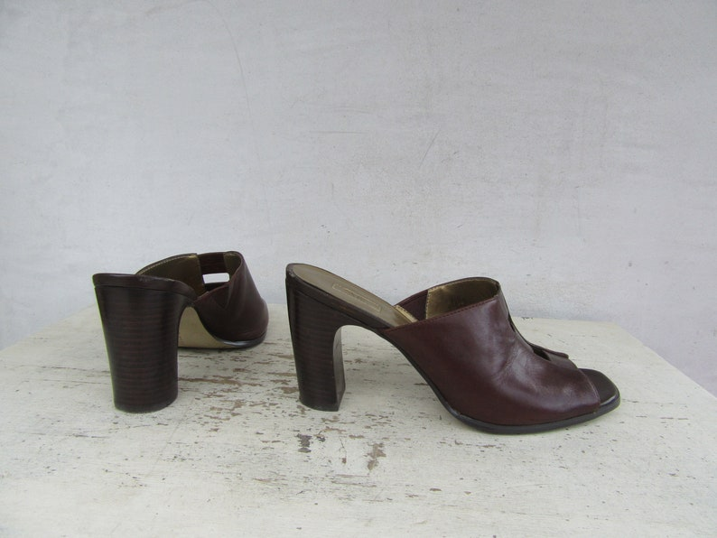 90s Lattice Open Toe Cinnamon Brown Leather Mules Sandals Slides 7.5 EURO 38