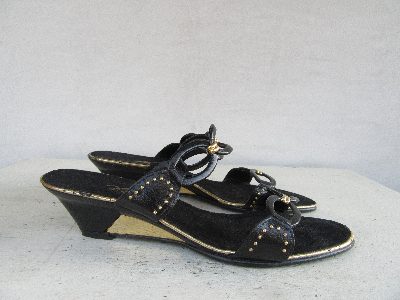 1980s Black Wedge Slides Vintage Wedge Mules Leather Ring Etsy