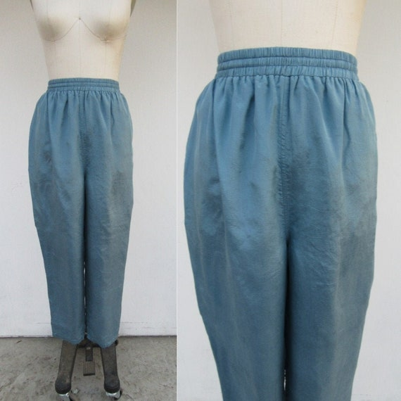 90s Slater Blue Silk High Waist Easy Pants | 90s T