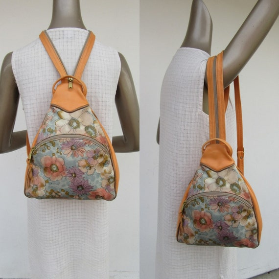 80s Painted Leather Convertible Teardrop Floral Ba