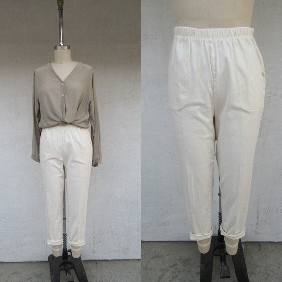 Plus Size 90s Vanilla Cream Corduroy Easy Pants |
