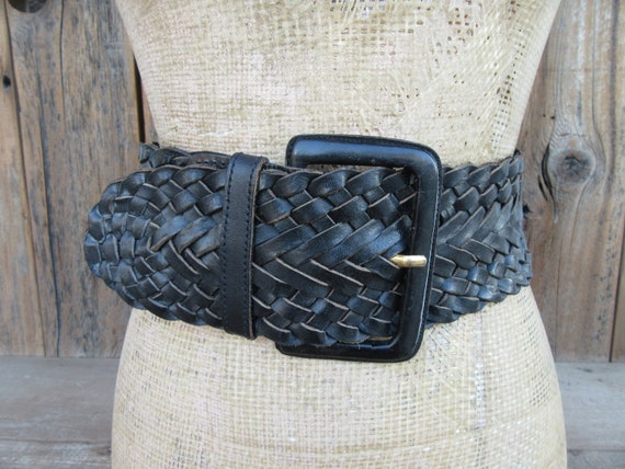 80s Extra Wide Black Woven Leather Belt | Corset B