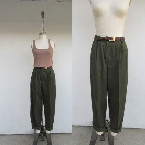 90s Olive Green All Cotton Khakis | High Waist Ple