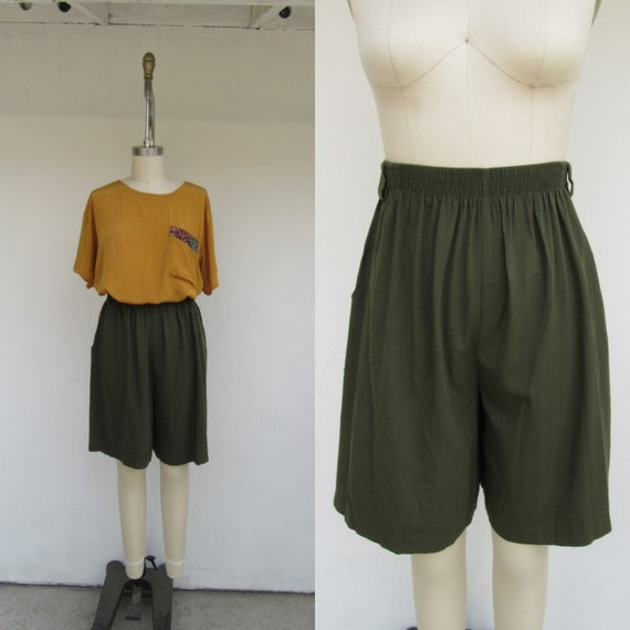 90s High Waist Pleated Olive Green Longline Shorts