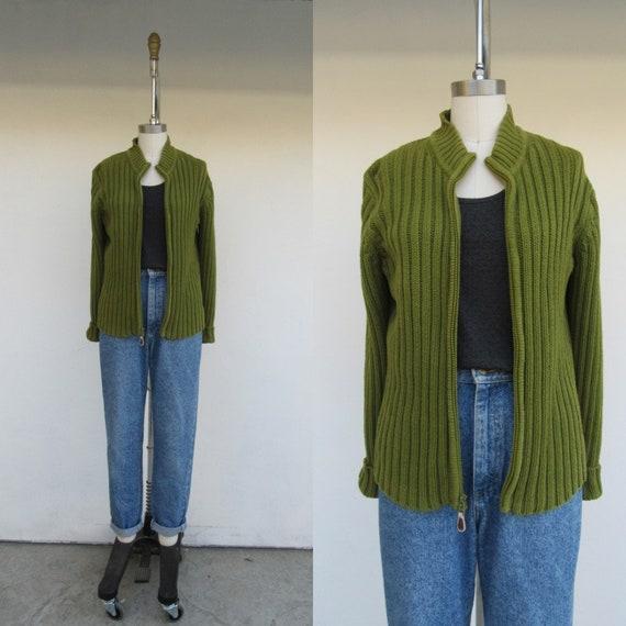 90s Minimal Kelp Green  Zip Front Sweater Jacket C