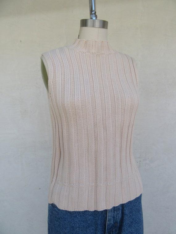 90s Vanilla Cream Cableknit Moch Neck Sleeveless … - image 4