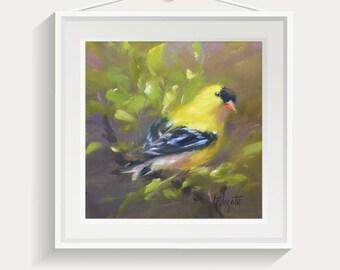 Bird painting, Bird print, Bird nursery decor, Wall art, Nursery painting, art print, giclee print, yellow bird, Goldfinch, oil paintings