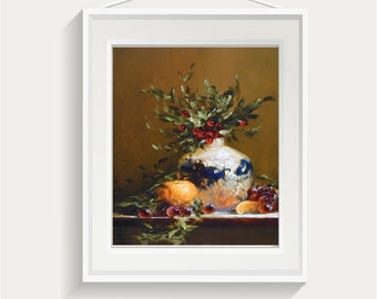 Still life art print | original oil painting | still life | Giclee | Gift for Her | Floral | Flowers | Christmas Holly | Barbara Applegate
