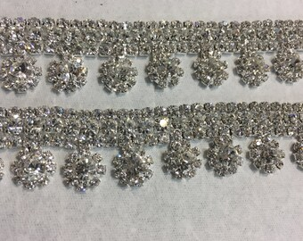 "21"" Rhinestone Trim CRYSTAL 3 rows with dangling  daisies 7/8"" Jazz dance costumes dresses ballroom dance, bridal wedding sash belly dance"