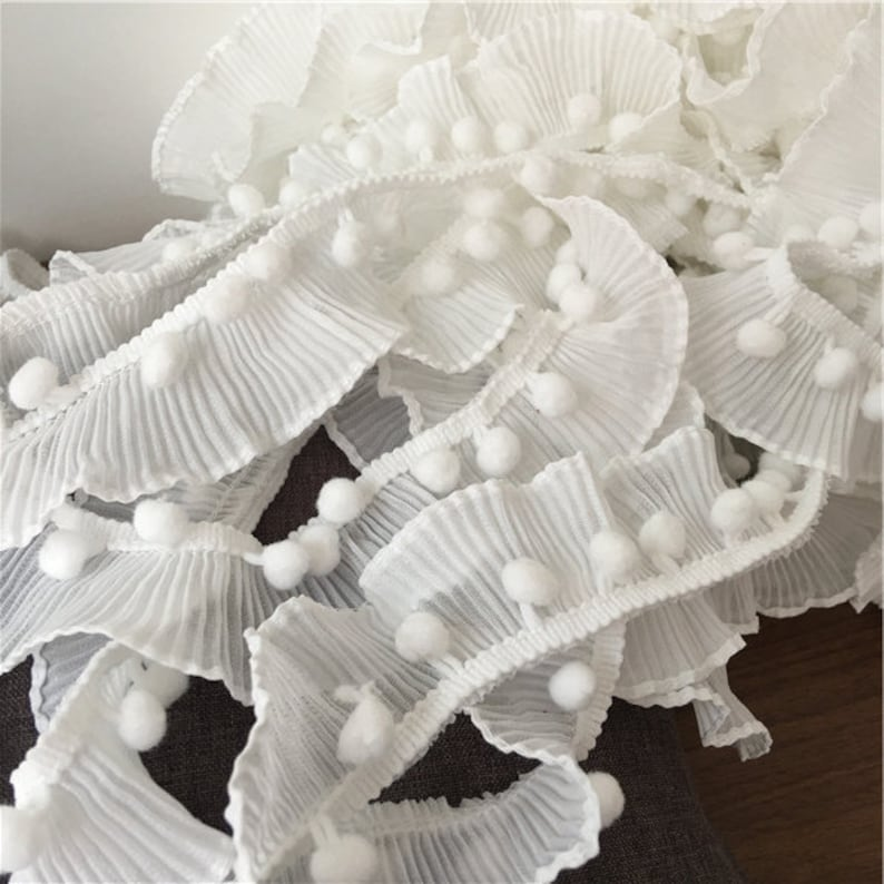 New arrivals off white chiffon fold with Wool ball Tassels lace trim stageevening dress accessories material 4cm 25yardslot