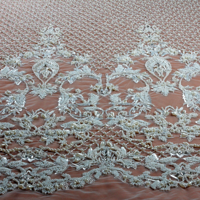 New fashion ivory heavy handmade beads on netting embroidered wedding dressevening dress lace fabric by yard