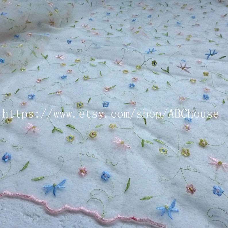 5yardslot Hot popular mixed colors flowers organza dress lace fabric for party evening dress fabric