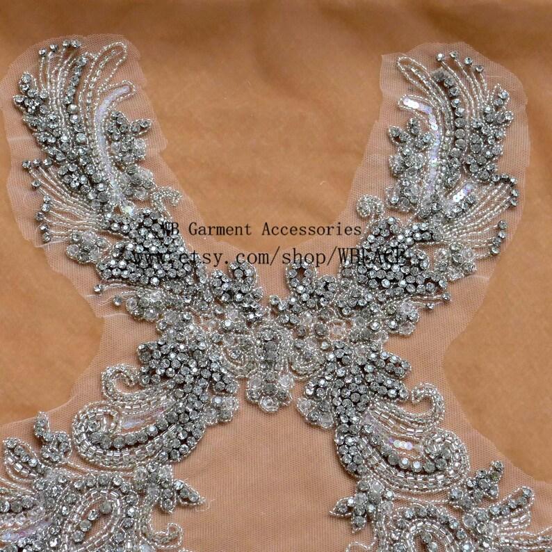 New super heavy workmanship applique rhinestone beaded patch sew-on dress accessories by piece 71X32cm